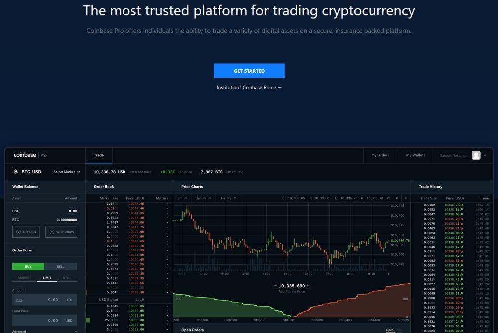 plateforme de trading Coinbase Pro
